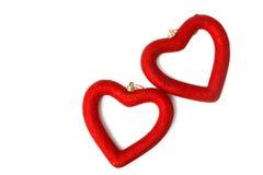 Deux coeurs rouges Photo libre de droits