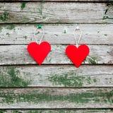 Deux coeurs rouges Photographie stock
