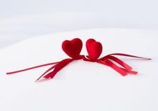 Deux coeurs rouges Images libres de droits
