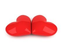 Deux coeurs rouges se trouvant sur le blanc illustration libre de droits