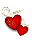 Deux coeurs rouges volumétriques sur le fond blanc. Images libres de droits