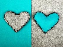 Deux coeurs sur différents milieux Photo libre de droits