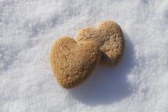 Deux coeurs sur la neige Photo stock