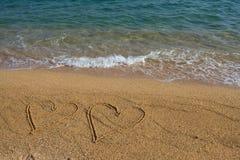 Deux coeurs sur la plage. Photos stock