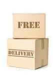 Deux colis de carton avec l'empreinte gratuite de la livraison images libres de droits