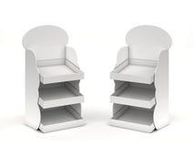Deux compteurs vides avec des étagères Photo stock