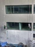 Deux constructeurs peignant le mur Image stock