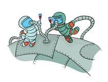 Deux cosmonautes buvant du vin dans l'espace extra-atmosphérique Photo drôle au jour de la cosmonautique Illustration de vecteur, illustration de vecteur