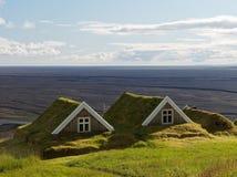 Deux cottages antiques en Islande images libres de droits