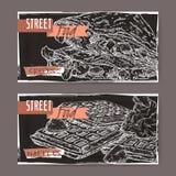 Deux crêpes de bannières de paysage et avec Liège waffles sur le noir Photographie stock