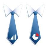 Deux cravates d'homme d'affaires avec un graphique et un diagramme. Image stock