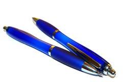 Deux crayons lecteurs bleus Photographie stock