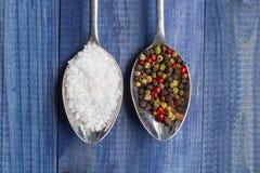 Deux cuillères avec des cristaux de sel et des grains de poivre de couleur Image stock