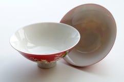 Deux cuvettes chinoises de porcelaine pour la cérémonie de thé Images libres de droits