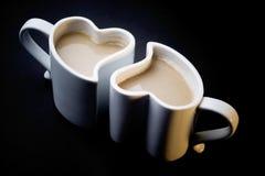 Deux cuvettes d'amour de café Images stock