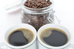 Deux cuvettes de café Photographie stock libre de droits