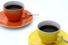 Deux cuvettes de café. Images libres de droits
