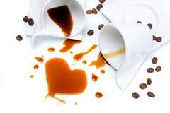 Deux cuvettes de café sur le fond blanc Photographie stock