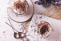 Deux cuvettes de chocolat chaud avec la crème fouettée Image libre de droits