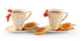 Deux cuvettes de thé. Image libre de droits