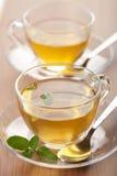 Deux cuvettes de thé vert Photographie stock libre de droits
