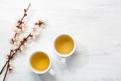 Deux cuvettes de thé vert Image stock
