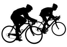 Deux cyclistes en concurrence illustration de vecteur