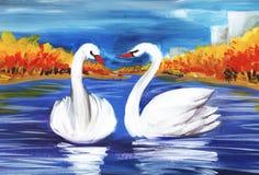 Deux cygnes blancs au milieu d'un lac bleu entouré par le paysage d'automne Peint à la main sur une illustration de papier illustration libre de droits