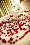 Deux cygnes faits à partir des serviettes embrassent sur le lit de blanc de lune de miel Images stock