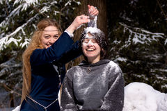 Deux dames en forêt de l'hiver Image stock