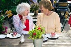 Deux dames supérieures appréciant les rafraîchissements extérieurs Image stock