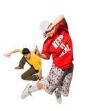 Deux danseurs sur le fond blanc Photo stock