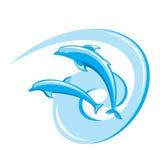 Deux dauphins. Images libres de droits