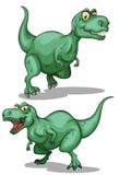 Deux dinosaures verts sur le blanc illustration stock