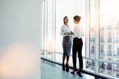Deux directeurs intelligents féminins discutés prévoient la future conférence tout en se tenant près de la grande fenêtre de bure Image libre de droits