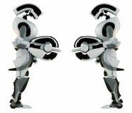 Deux dispositifs protecteurs robotiques égaux Photo stock