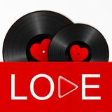 Deux disques vinyle noirs réalistes avec les labels rouges de coeur dans une couverture lumineuse avec le bouton d'amour et de je illustration stock