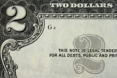 Deux dollars Photo stock