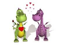 Deux dragons dans l'amour Photo libre de droits