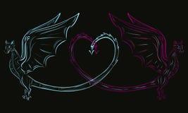 Deux dragons et un coeur Images stock