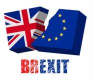 Deux drapeaux déchirés - UE et le R-U Concept de Brexit Image stock