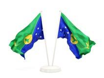 Deux drapeaux de ondulation d'Île Christmas Photos stock
