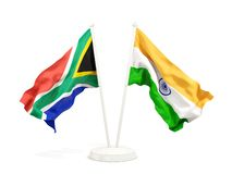 Deux drapeaux de ondulation de l'Afrique du Sud et de l'Inde d'isolement sur le blanc illustration de vecteur