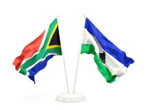 Deux drapeaux de ondulation de l'Afrique du Sud et du Lesotho d'isolement sur le blanc illustration libre de droits