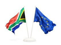 Deux drapeaux de ondulation de l'Afrique du Sud et de l'UE d'isolement sur le blanc illustration de vecteur