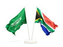Deux drapeaux de ondulation de l'Arabie Saoudite et de l'Afrique du Sud d'isolement sur le blanc illustration de vecteur