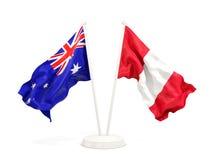 Deux drapeaux de ondulation de l'Australie et du Pérou d'isolement sur le blanc illustration de vecteur