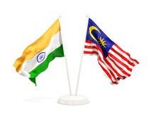 Deux drapeaux de ondulation de l'Inde et de la Malaisie d'isolement sur le blanc illustration libre de droits