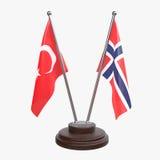 Deux drapeaux de table image stock