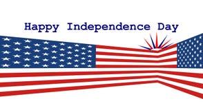 Deux drapeaux des USA dans la perspective avec le Jour de la Déclaration d'Indépendance heureux photo stock